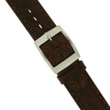Swatch Style Leather Watch Band Brown Italian Leather 17 millimeters   TechSwiss   Buckle