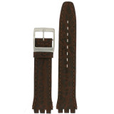 Swatch Style Leather Watch Band Brown Italian Leather 17 millimeters | TechSwiss | Front