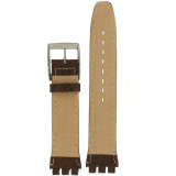 Swatch Style Leather Watch Band Brown Italian Leather 17 millimeters   TechSwiss   Rear