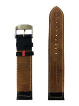 Mens Anti Allergic Genuine Leather Watch Band Black