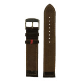 Mens Anti Allergic Genuine Leather Watch Band Brown Long