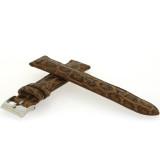 Genuine Crocodile Brown/tan Watch Band Padded Built-In Spring Bars Ladies Length