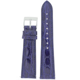Genuine Crocodile Purple Blue Watch Band Padded Built-In Spring Bars - Ladies Length