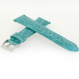 Genuine Crocodile Aqua Blue Watch Band Padded Built-In Spring Bars - Ladies Length
