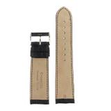 Watch Band Genuine Crocodile Black Padded Stitched - Matte Finish 18mm 20mm 22mm