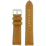 Leather Watch Band Thick Leather Tan White Stitching Heavy Buckle LEA444 | TechSwiss | Front