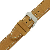 Leather Watch Band Thick Leather Tan White Stitching Heavy Buckle LEA444 | TechSwiss | Buckle