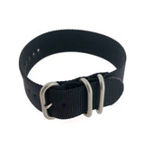 Nylon Watch Band Woven One Piece Military Style Sport Black  Waterproof  20mm