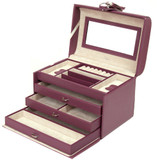 Leather Jewelry Box in Plum