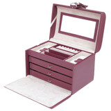 Leather Jewelry Box in Plum  | TechSwiss TS393BUR | Main