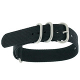 18mm Nylon Strap with Rounded Buckle One-Piece Waterproof - Black
