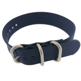 Nylon Watch Band One Piece Sport Style Navy Blue- 20mm