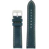 Watch Band Leather Saddle Blue White Stitching Heavy Buckle LEA443 | TechSwiss | Front