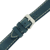 Watch Band Leather Saddle Blue White Stitching Heavy Buckle LEA443 | TechSwiss | Buckle