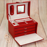 Red Leather Jewelry Chest | Ladies Red Jewelry Box | TechSwiss Jewelry Cases | Open