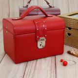 Red Leather Jewelry Chest | Ladies Red Jewelry Box | TechSwiss Jewelry Cases | Main