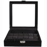 Watch Jewelry Valet Large Single Level Leather XL Compartments Watches Glass Window - Black TS5849RV-BLK front open