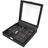 Watch Jewelry Valet Large Single Level Leather XL Compartments Watches Glass Window Black TS5849RV-BLK front angle