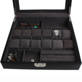 Watch Jewelry Valet Large Single Level Leather XL Compartments Watches Glass Window - Black TS5849RV-BLK front close up