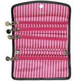 Travel Carry On Jewelry Organizer Roll Up Case Pink Brown Damask