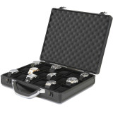 Factory Minor Defective - Watch Box  Aluminum Metal Case 18 Watches Large Black