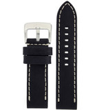 Leather Black Watch Band Extra Thick Straight Cut Heavy Buckle LEA1550 | Front