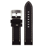 Leather Black Watch Band Extra Thick Straight Cut Heavy Buckle Inside LEA1550 | Back