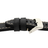 Leather Black Watch Band Extra Thick Straight Cut Heavy Buckle Side View LEA1550 | Buckle side view