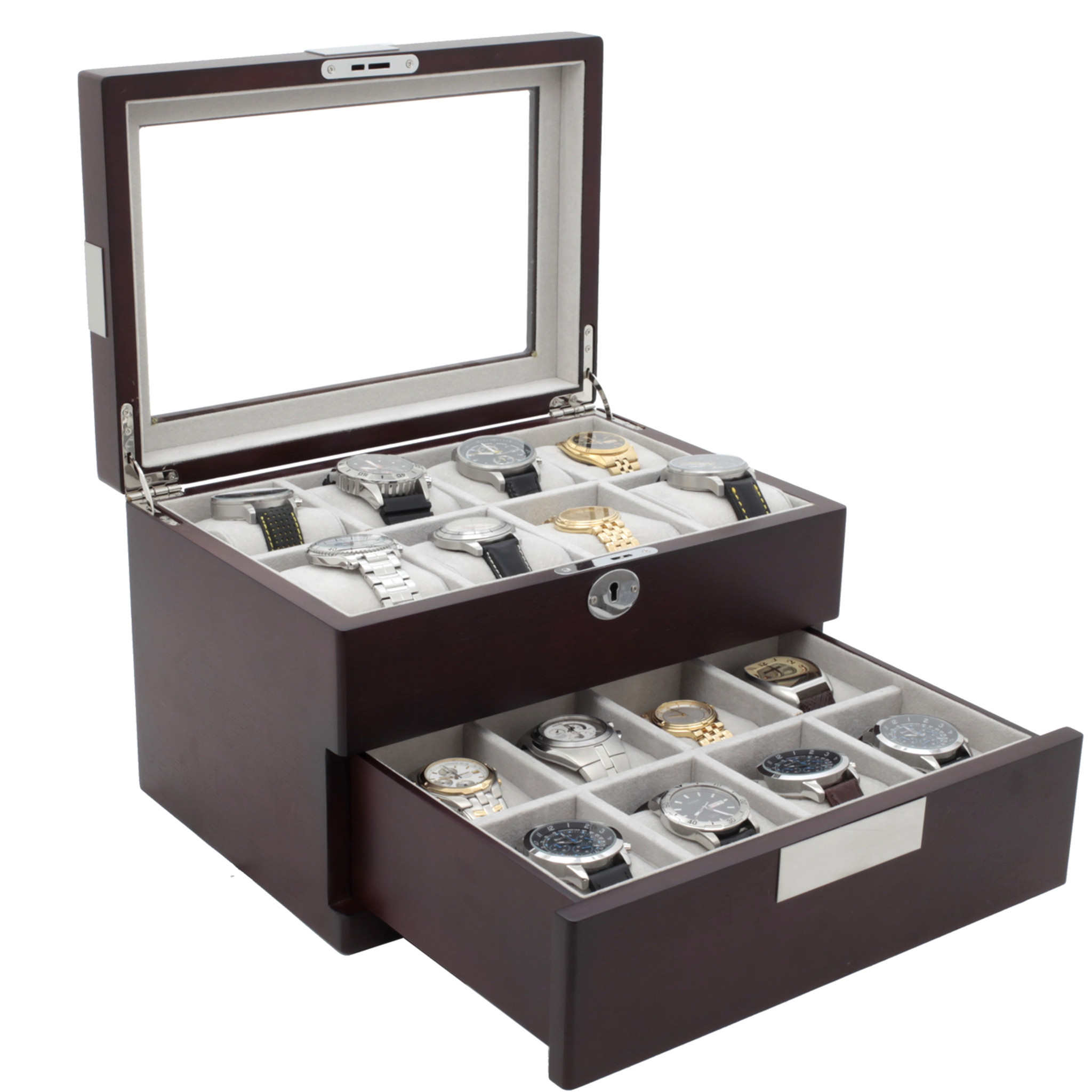 Watch Box For 16 Watches With Metal Tabs In Cherry