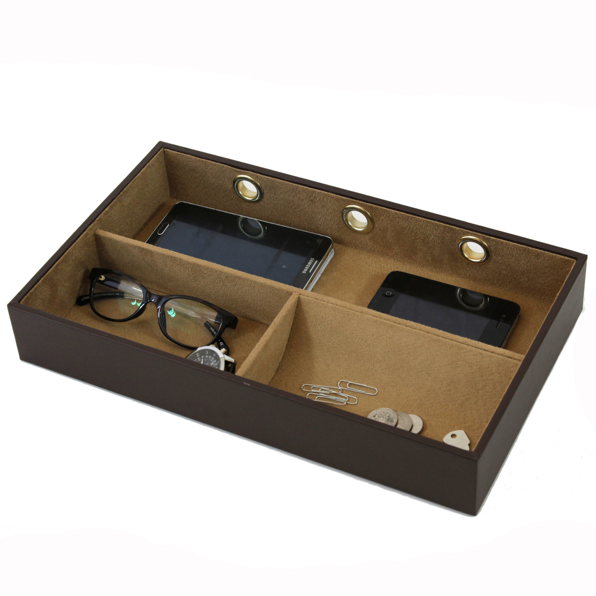 0be41ee50878 Brown Leather Charging Valet Station