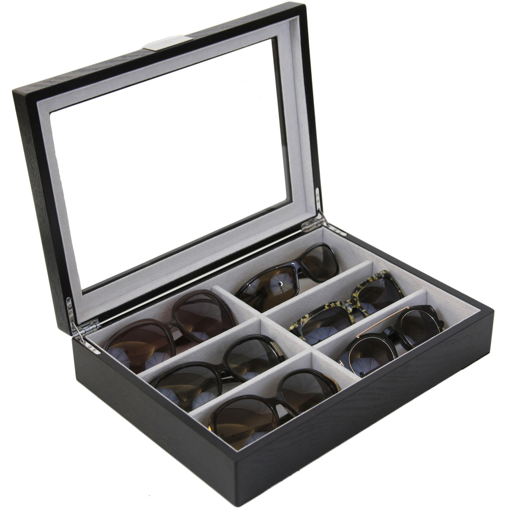 Sunglass Display Case | Wooden Eyeglass Box | Sunglass Storage | TechSwiss  TSSG500ESSBK | Main