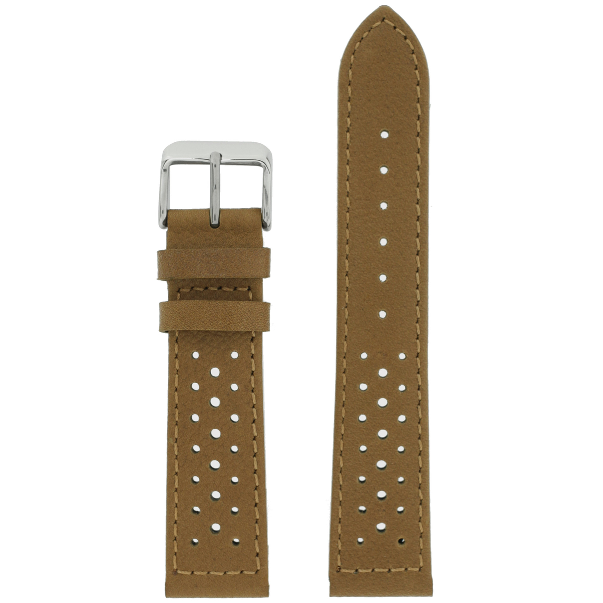 Mens Watch Band Light Brown Rally Racing Sport Leather