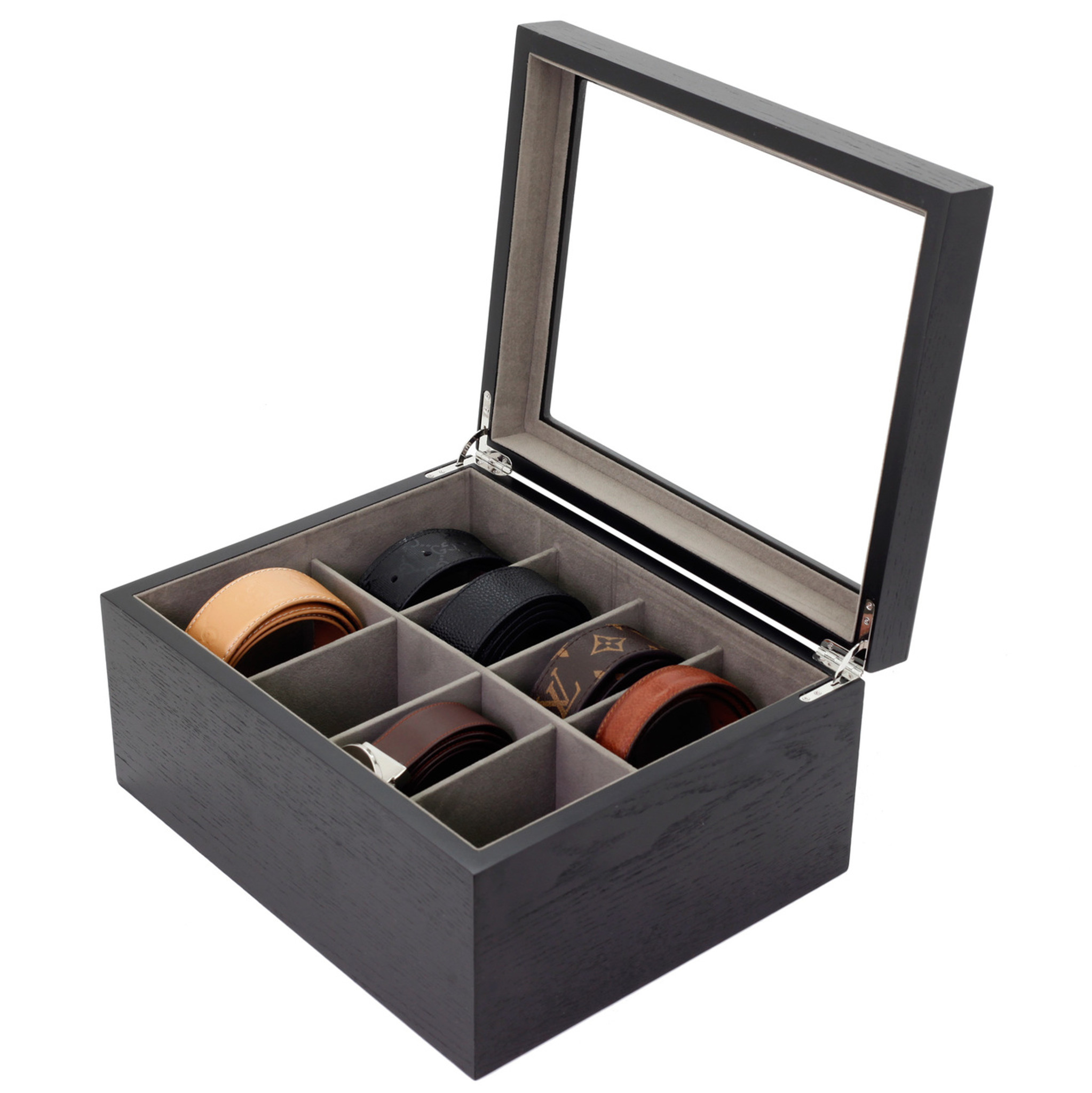 Wood Belt Box Belt Storage Case Luxury Mens Belt Organizer