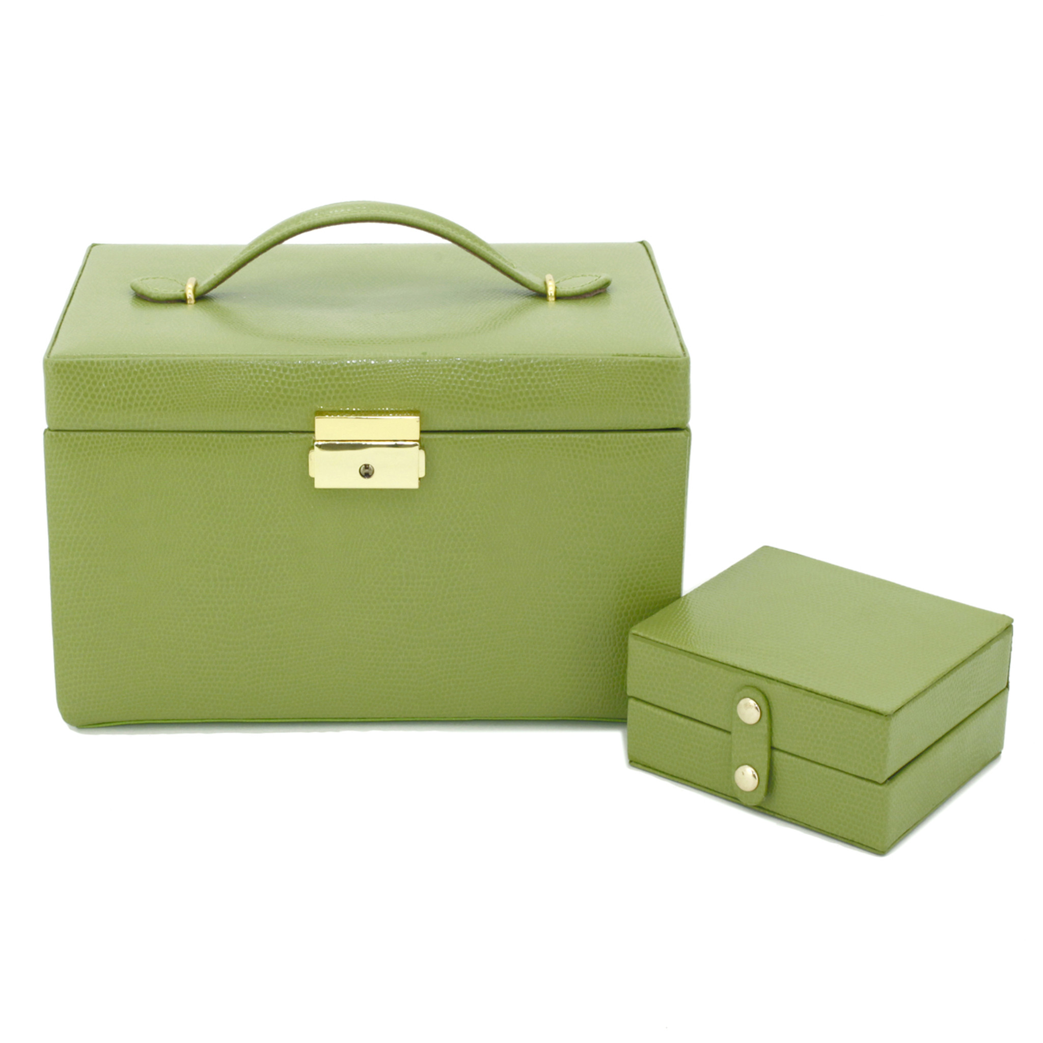 GREEN LEATHER JEWELLERY BOX SUITABLE FOR NECKLACE