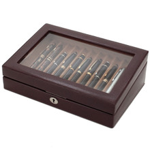 Pen Watch Box Storage and Display Case in Leather | TS0432BRN | TechSwiss | Side View
