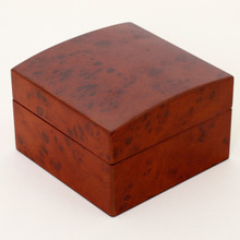 Closed burrowed Watch Box | Single Burlwood Watch Gift Case | TechSwiss TSBOXBUR1