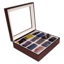 Cherry Wood Tie Box   Tie Display Case TechSwiss TIEBOX1   Cherry Tie Case   Wood Tie Organizer   Front Side open