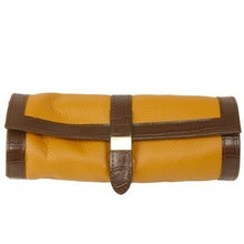 Jewelry Travel Roll Up by TechSwiss | Brown and Yellow Leather | TS531TAN | Main