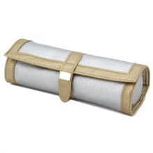 Gold and Silver Leather Jewelry Roll Up Case Organizer | TechSwiss TS10641GOLD | Main