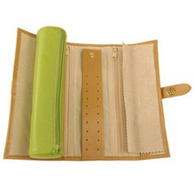Lime Green Jewelry Travel Roll Up - TechSwiss - TS10641GREEN - Open