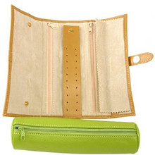 Lime Green Jewelry Travel Roll Up - TechSwiss - TS10641GREEN - Top View