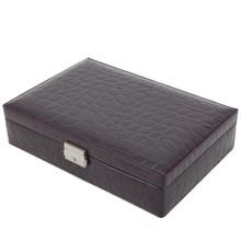 Burgundy Leather Watch Box | TechSwiss TS2890BUR | Closed