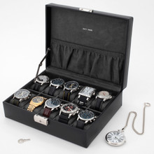 Watch Box in Black Leather | TSA410BLK | TechSwiss | Mens Cases | Open