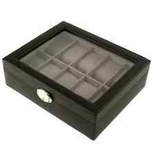 TechSwiss Black Leather Watch Box | Mens Luxury Organizers | TechSwiss TSA3736 | Side