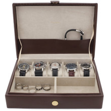 Mens Leather Watch & Jewelry Valet in Chestnut
