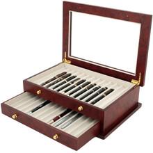 Burlwood Fountain Pen Box by TechSwiss   Wood Pen Display Case   TSBXPN26BUR   Drawer View
