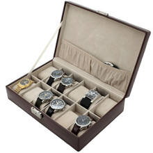 Brown Leather Watch Box with Crocodile Grain | TechSwiss TS2890BRN | Side