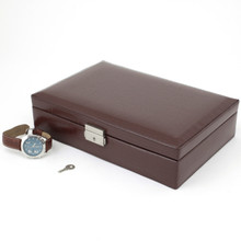 Brown Leather Watch Box with Crocodile Grain | TechSwiss TS2890BRN | Closed
