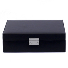 Black Leather Jewelry and Watch Box | TechSwiss Mens Cases | TechSwiss TS521BLK | Closed