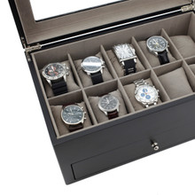 Black Modern Watch Chest | Wood Watch Case | Black Wood Watch Box | TechSwiss TSBXA20BLKXL | Close-up